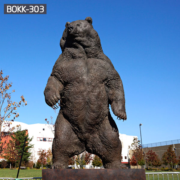 Outdoor large standing brown bear bronze animal statues art decor BOKK-303