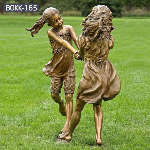 Two little girl playing bronze statues for outdoor garden lawn ornaments BOKK-165