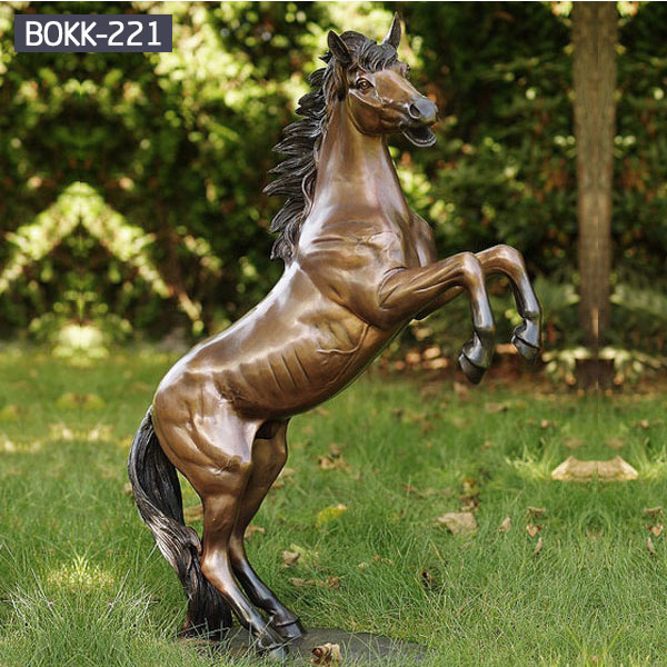 large vintage bronze decorative rearing horse statue garden ornaments BOKK-221