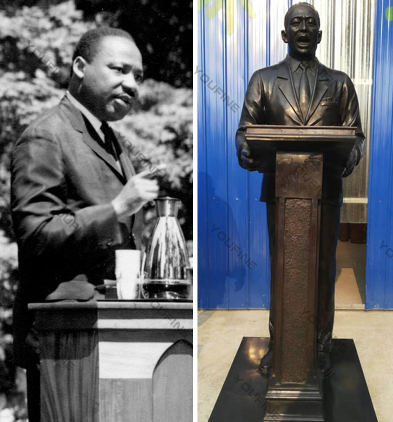 Order custom photo bronze sculptures of Martin Luther King life size