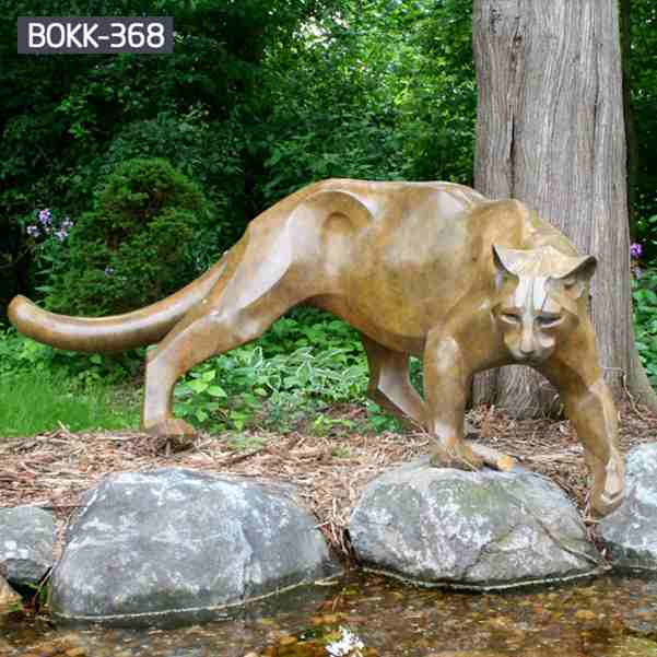 Hand Polished Large Bronze Leopard Statue BOKK-368