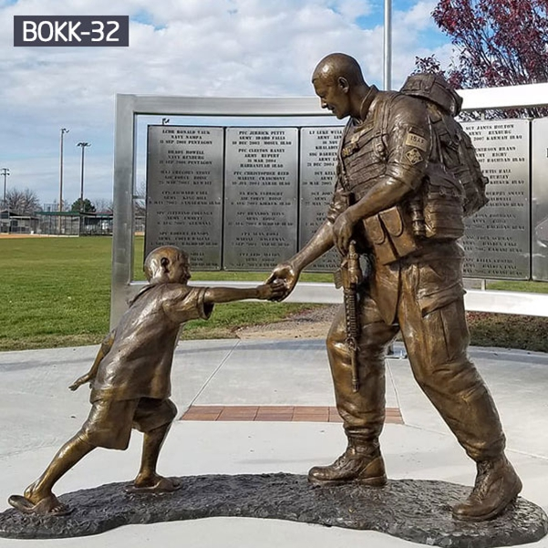 Outdoor Park Decoration Military Bronze Solider Statues for Sale BOKK-30
