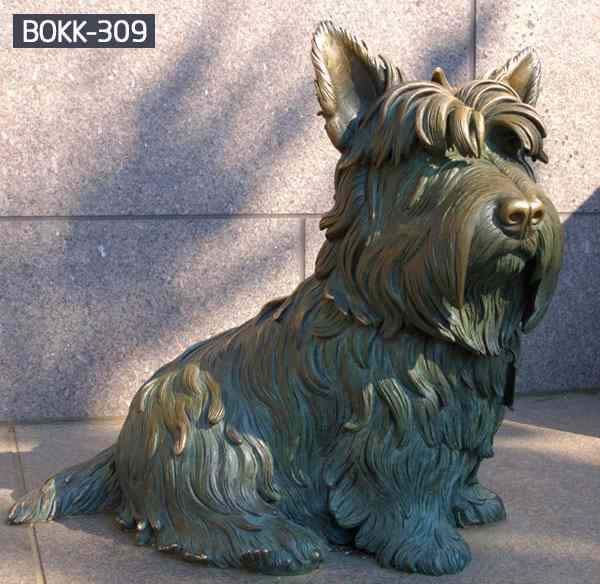 Hand Carved Lovely Bronze Dog with Long Hair BOKK-309