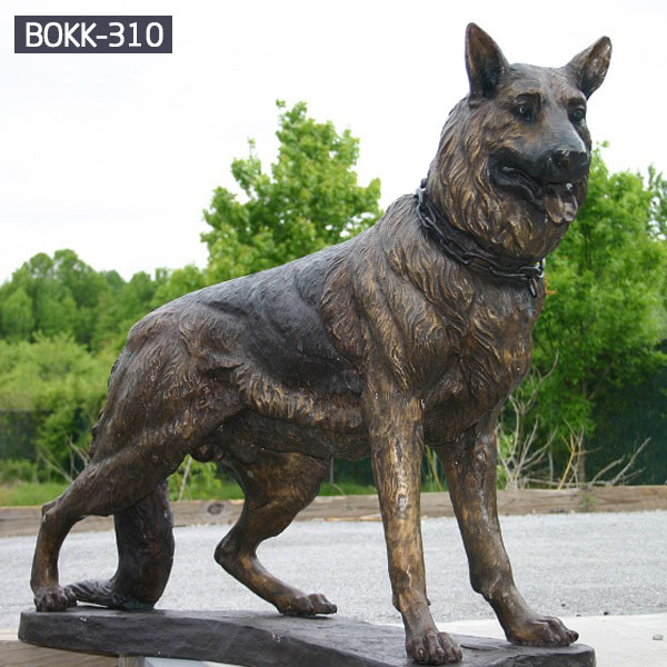 Outdoor Best Selling Standing Bronze Military Dog with Chain BOKK-310