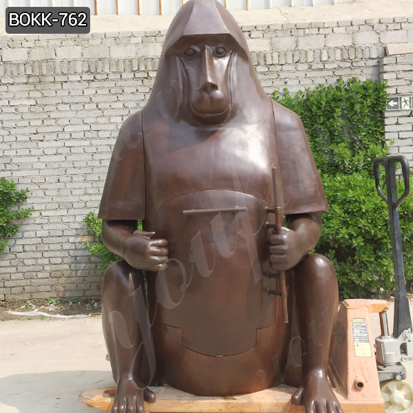 Domestic Life Size Bronze Orangutan Sculpture Fireplace Manufacturer BOKK-762