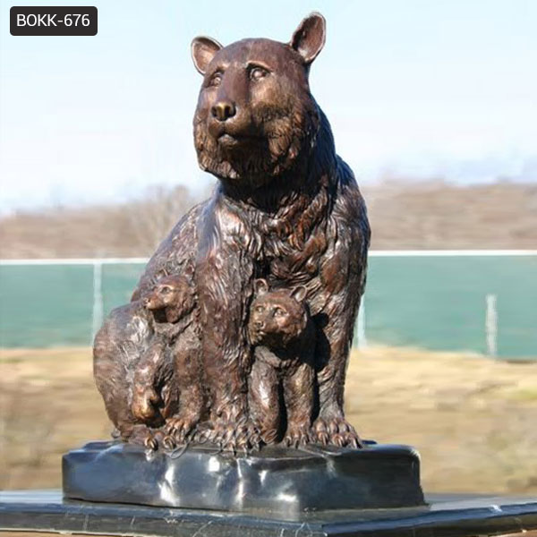 Customized Casting Bronze Grizzly Bear Statue for Garden Decoration Manufacturer BOKK-676