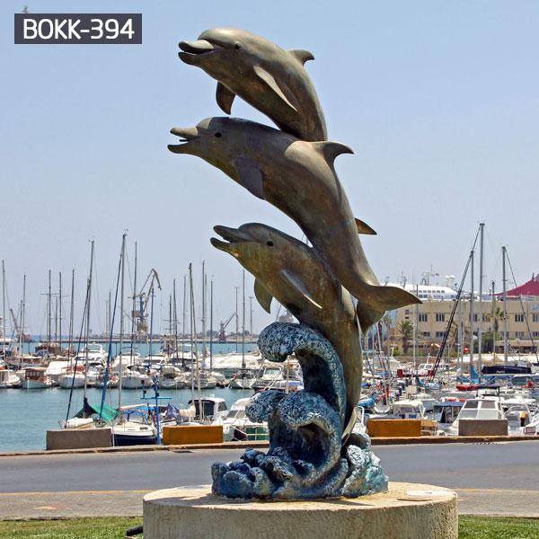 Jumping Three Dolphins Bronze Animal Sculpture for Garden Decoration Supplier BOKK-394
