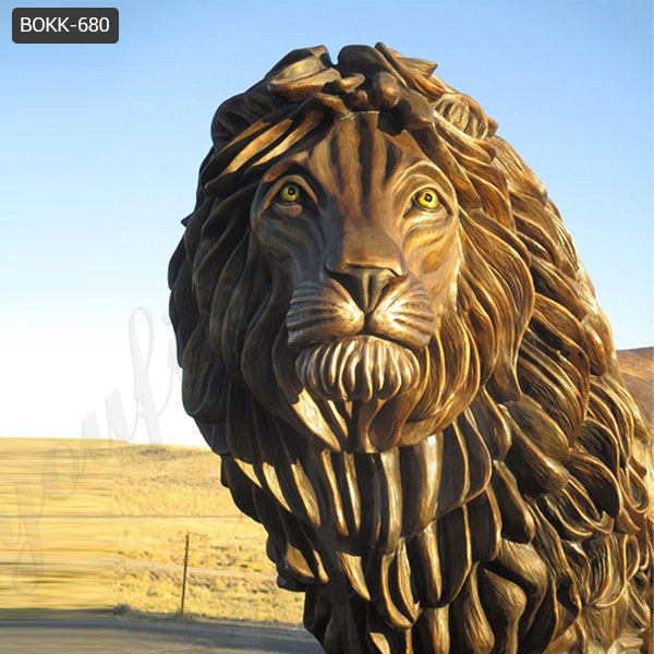 Life Size Natural Standing Bronze Animal Sculpture of Lion for Sale BOKK-680