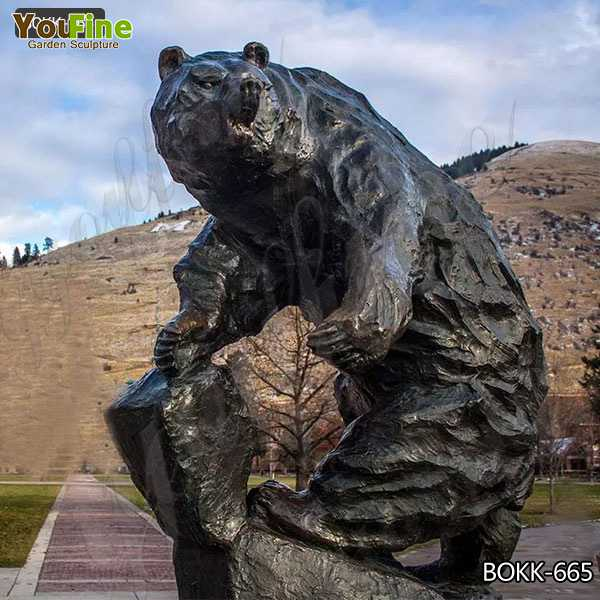 Lowest Price Outdoor Life Size Bronze Bear Sculpture for Decoration BOKK-665