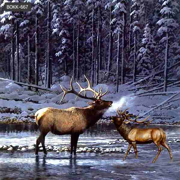 Beautiful Life Size Elk Bronze Animal Statue for Decoration Supplier BOKK-667