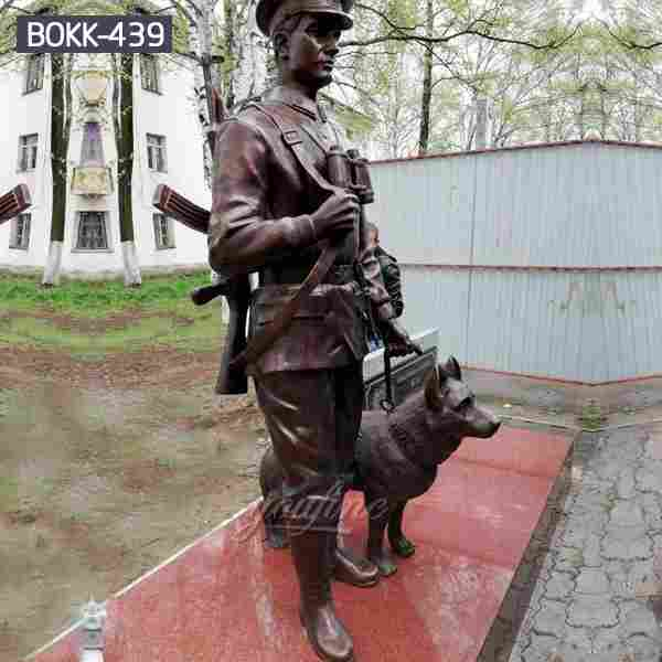 Life Size Outdoor Bronze Military Statues with Solider and Dog for Sale BOKK-439