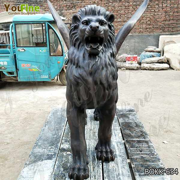 Hand Carved Casting Bronze Flying Lion Garden Statues Design for Sale BOKK-654