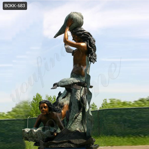 High-quality Life Size Outdoor Bronze Mermaid Sculpture Fountain Supplier BOKK-683