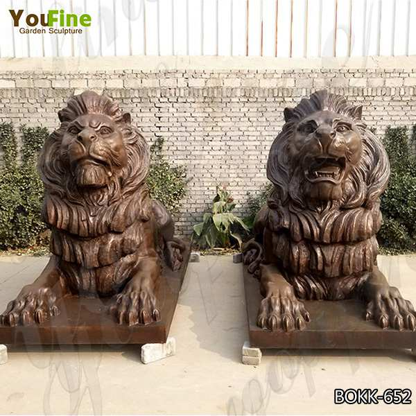 Large Size Antique Bronze Animal Lion Sculpture for Decor Manufacturer BOKK-652