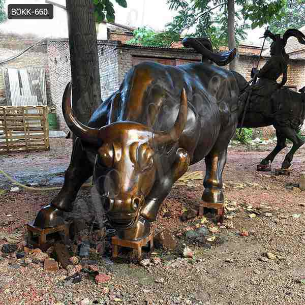 Large Size Outdoor Wall Street Antique Bronze Bull Statue for Sale BOKK-660