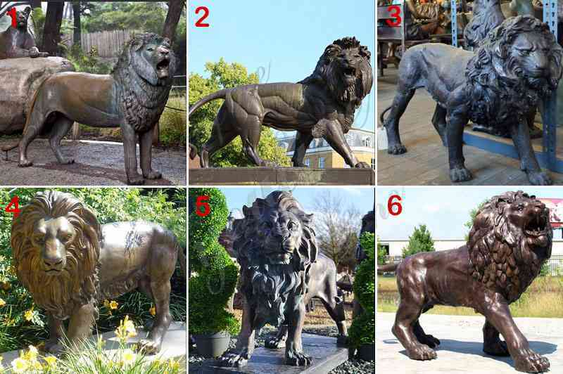 Outdoor Bronze Garden Lion Statues
