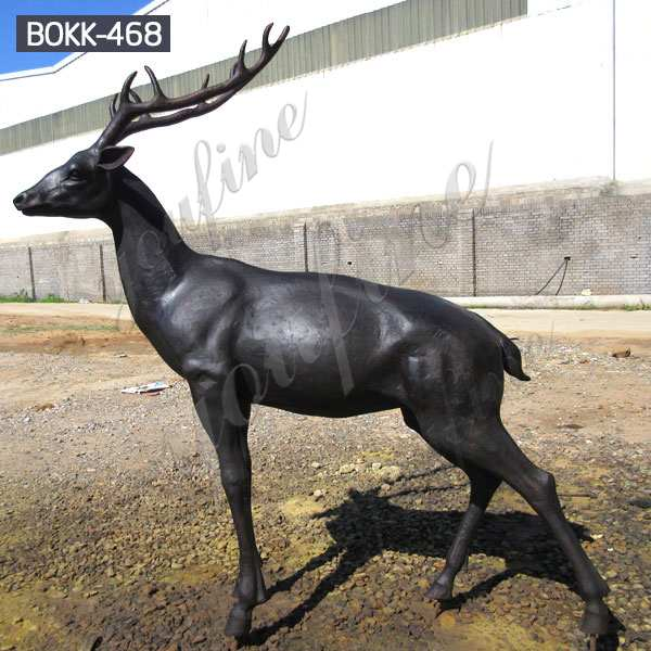 Outdoor Large Size Black Animal Bronze Deer Statue for Garden Lawn Supplier BOKK-468