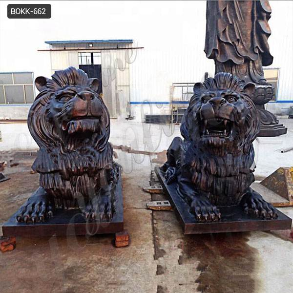 Customized Large Size Bronze Animal Lion Sculpture for Home Decor Wholesale BOKK-662