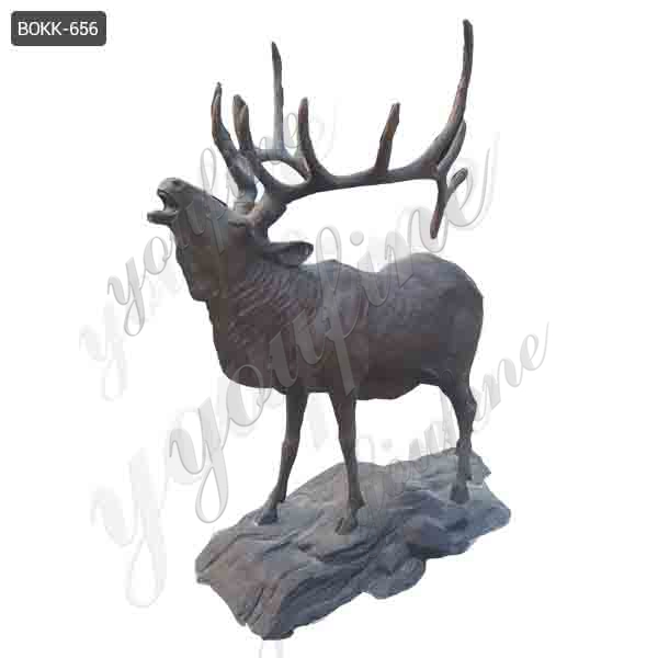 Hot-selling Outdoor Bronze Wild Elk Sculpture for Garden Decoration Supplier BOKK-656