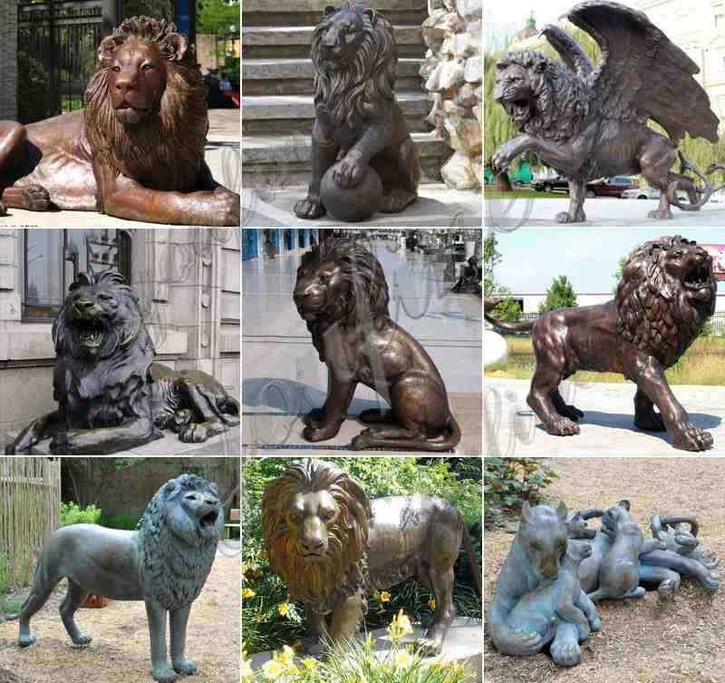 Large Size Bronze Animal Lion Sculptures