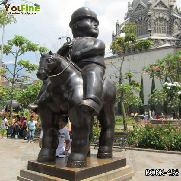 Large Size Famous Fat Botero Bronze Man And Horse Sculpture Replica for Sale BOKK-498