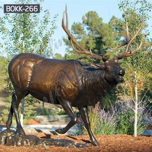 Large Size Outdoor Bronze Animal Elk Sculpture for Garden Decoration Supplier BOKK-266