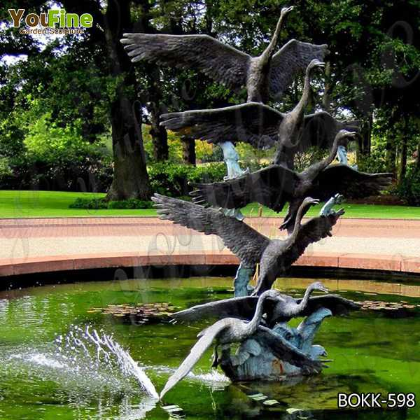 Outdoor Decorative Casting Bronze Crane Garden Sculpture Design for Sale BOKK-598