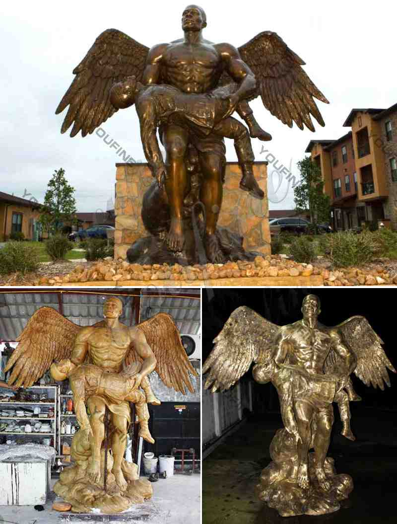 Bronze Angel Holding Fallen Soldier Memorial Statue