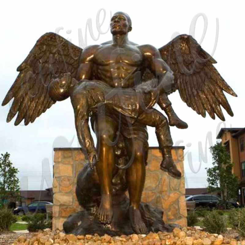 Custom Bronze Angel Holding Fallen Soldier Memorial Statue