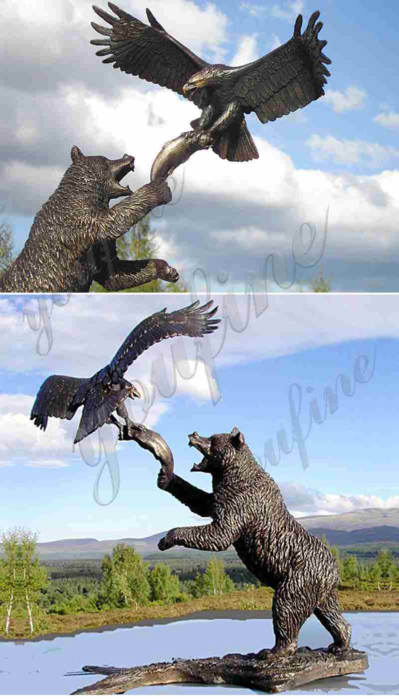 Bronze Bear and Eagle Catch Fish Statue