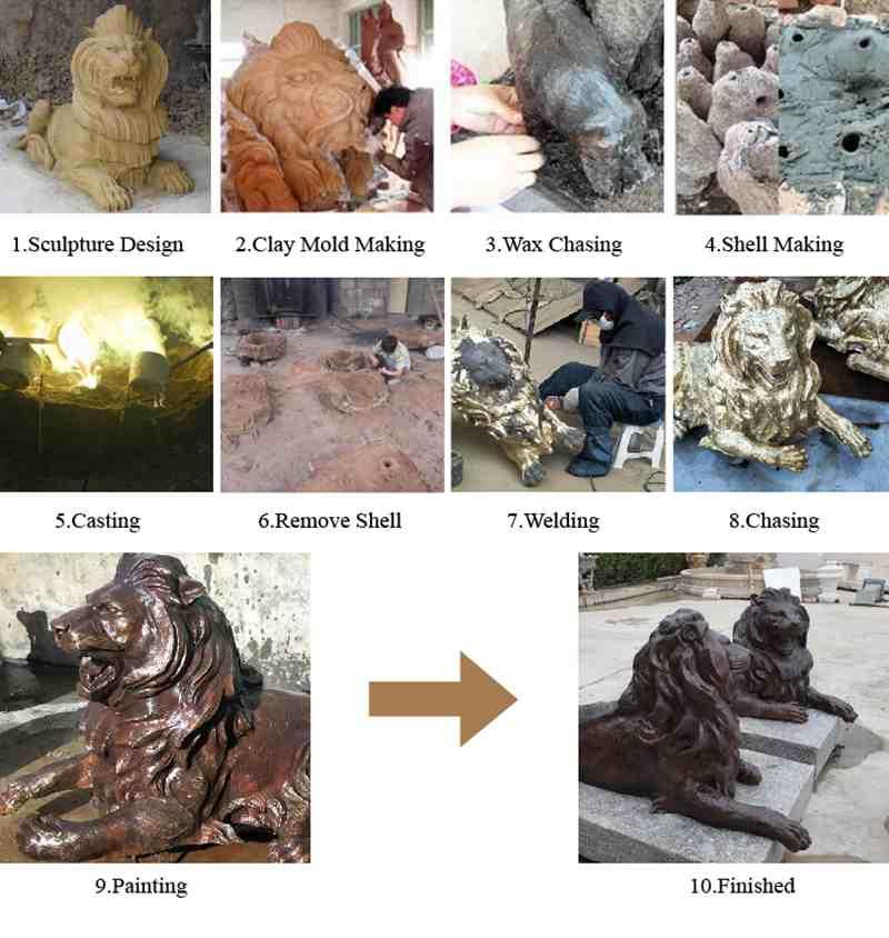Bronze Lion Sculpture for Yard Decor