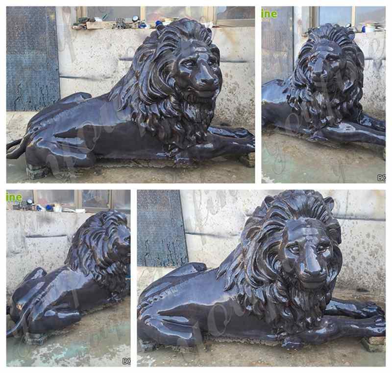 Bronze Outdoor Lying Lion Sculpture