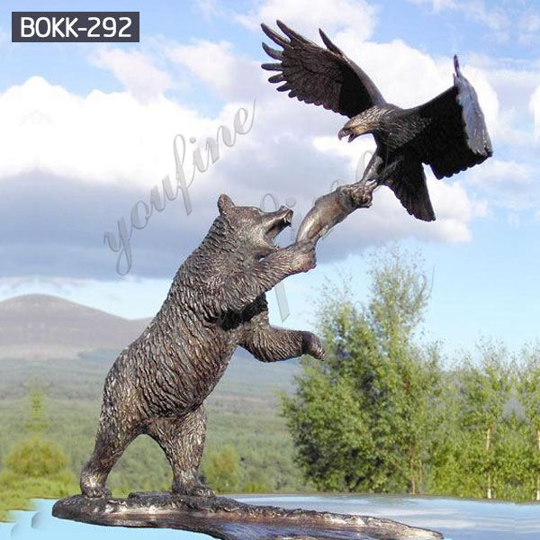 Custom Large Size Bronze Bear and Eagle Catch Fish Statue Design for Sale BOKK-292
