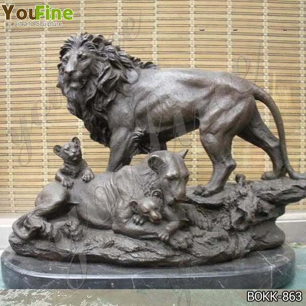 Garden Art Casting Bronze Lion and Cub Statue Design for Sale BOKK-863