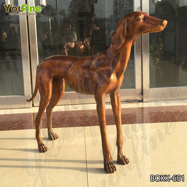 High-quality Large Casting Bronze Greyhound Garden Sculpture for Sale BOKK-651
