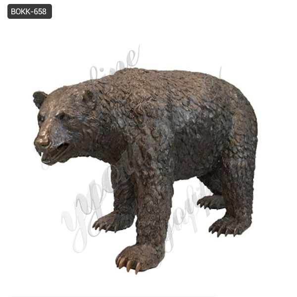 Hot-selling Large Casting Bronze Standing Bear Statue for Outdoor Decor BOKK-658