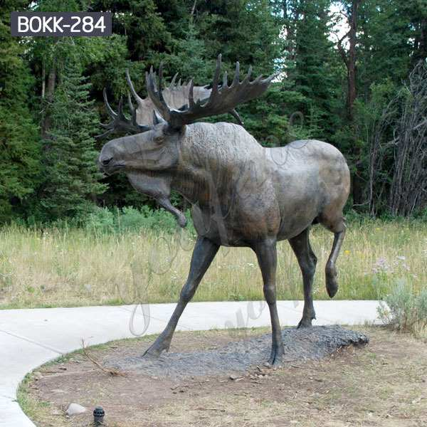 Large Garden Decorative Bronze Wildlife Moose Sculpture Supplier BOKK-284