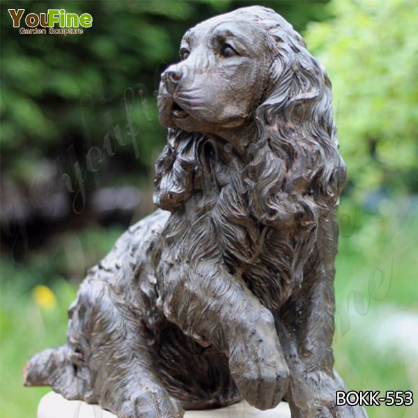 Outdoor Cute Antique Bronze Springer Spaniel Statue for Decor Wholesale BOKK-553