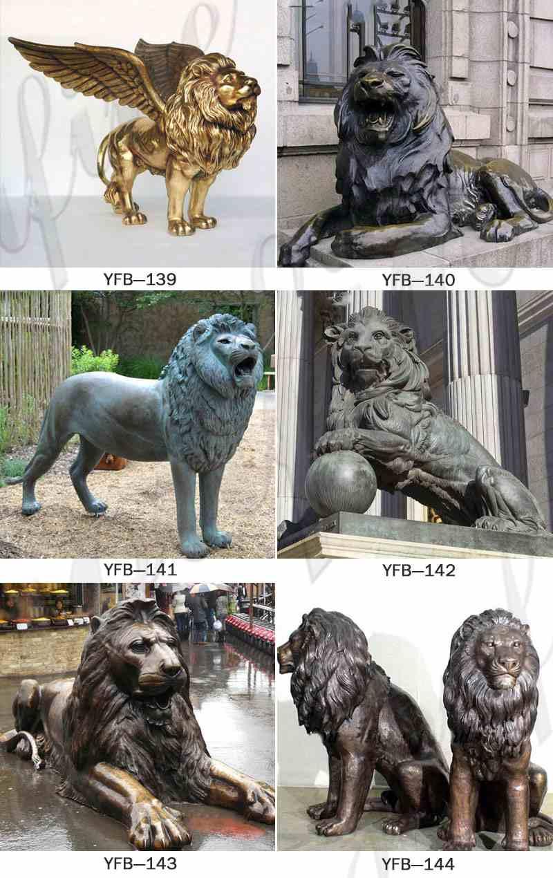Life Size Garden Decoration Casting Bronze Animal Lion