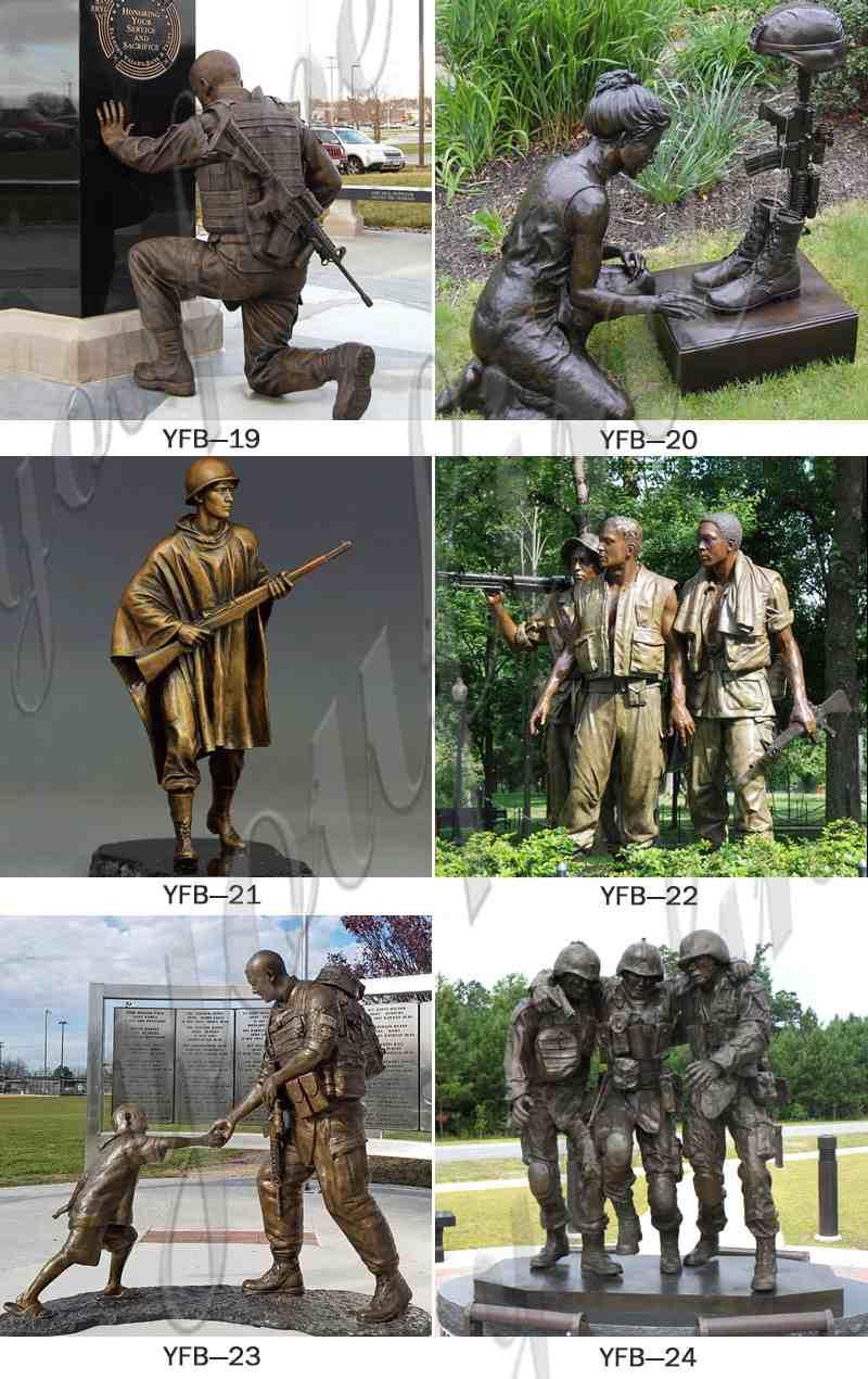 Customized Bronze Memorial War Soldier Statue