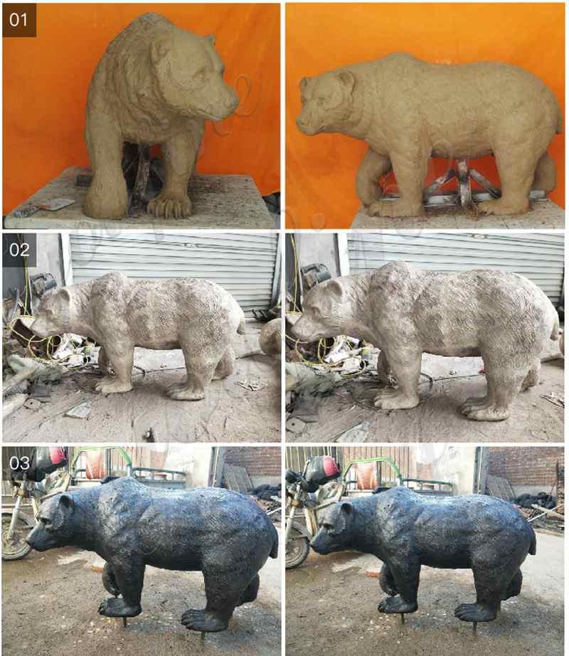 Life Size Bear Statue Outdoor Garden Supplier BOKK-296