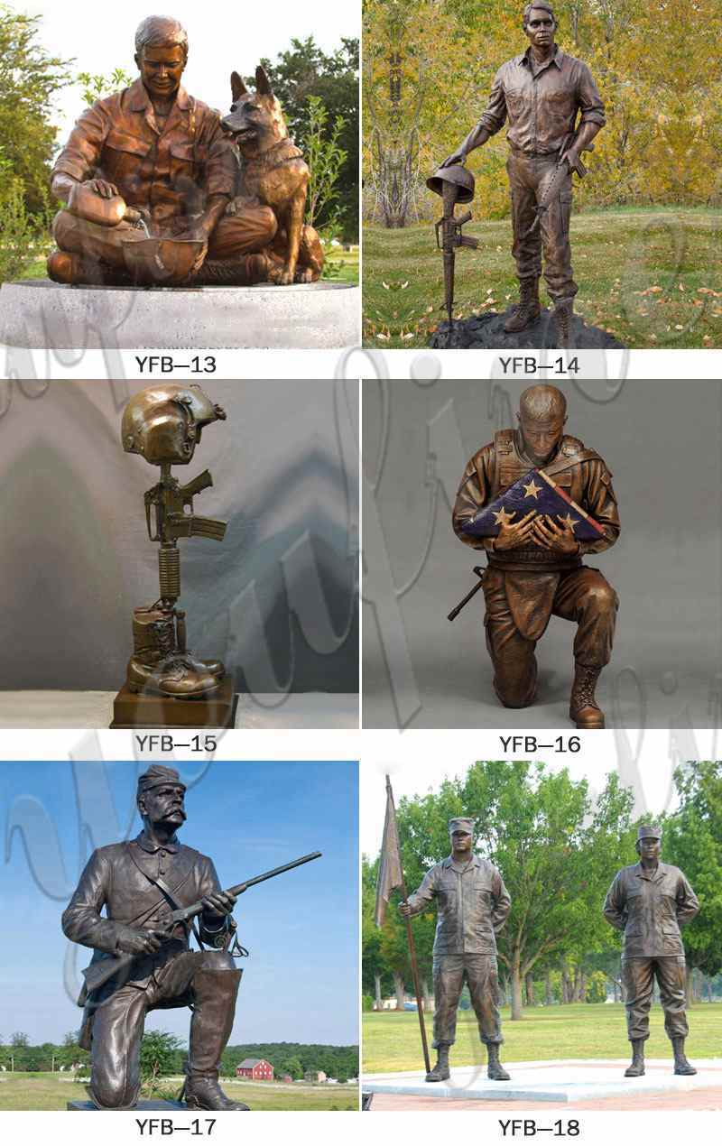 Life Size Casting Bronze Memorial Soldier Statue Sale BOKK-195