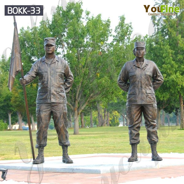 Outdoor Bronze Military Base Man And Woman Soldiers Sculpture Supplier BOKK-33