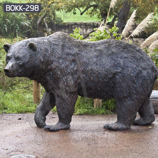 Large outdoor bronze black bear garden statues for lawn ornaments BOKK-298