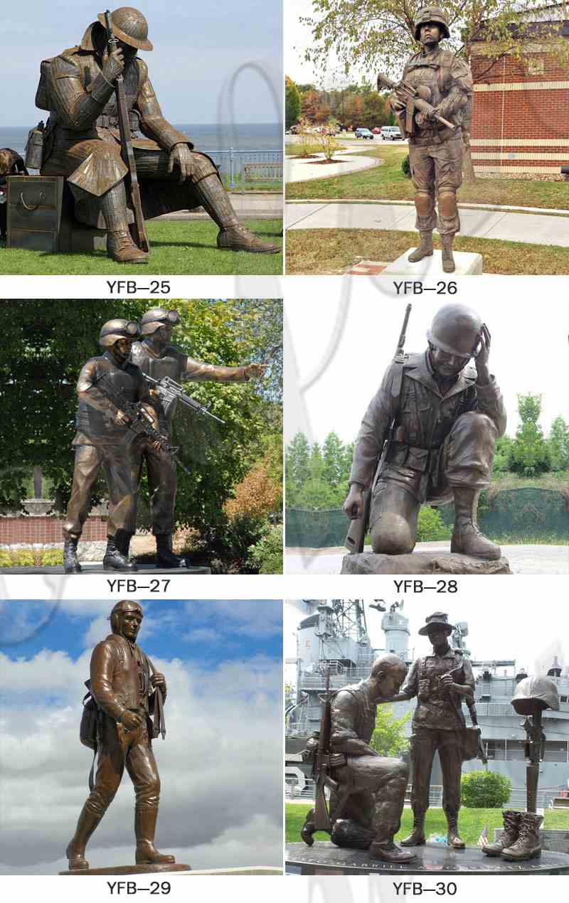 Life Size Memorial Soldier Outdoor Standing Bronze Statue for Sale