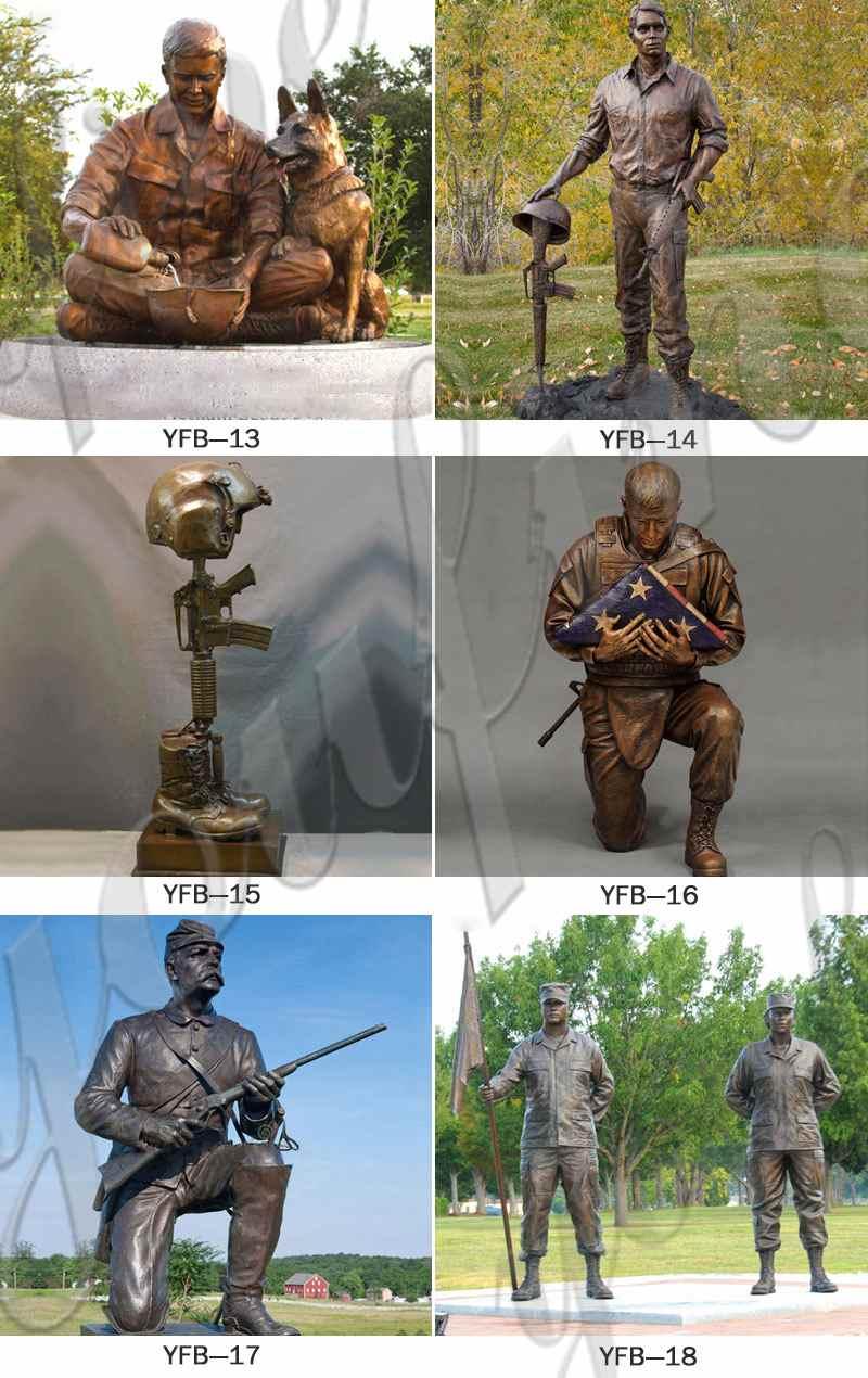 Life Size Sitting Bronze Memorial Soldier Statue Monument Manufacturer