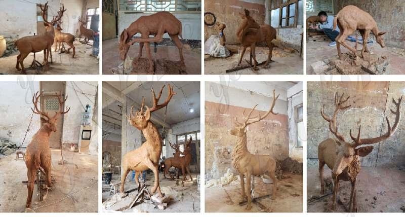 Outdoor Casting Life Size Bronze Elk Statue for BOKK-273