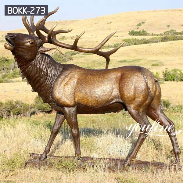 Outdoor Casting Life Size Bronze Elk Statue for Sale BOKK-273