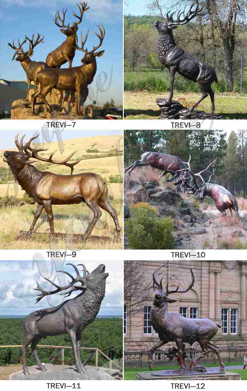 Outdoor Casting Life Size Bronze Elk Statue for