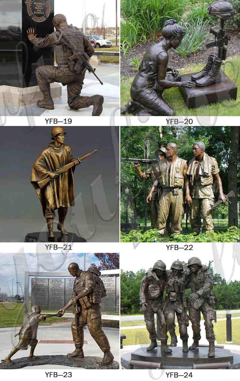 Veterans Day Life Size Bronze Sitting Soldier Statue BOKK-41